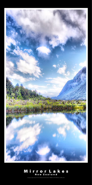 Mirror Lakes New Zealand Landscape Panoramic Photography